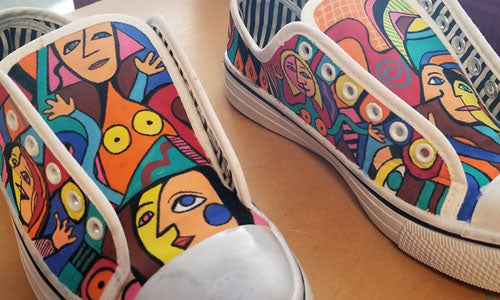 Hand painted Picasso shoes