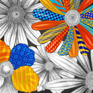 Color Pops bold and bright floral clipart