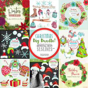 Christmas Bundle watercolor clipart and graphics