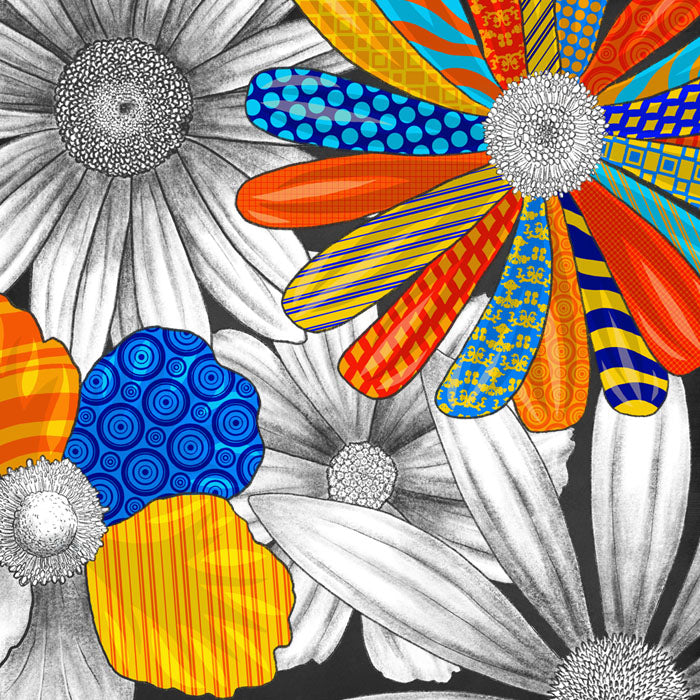 pencil sketched florals with bright color pops