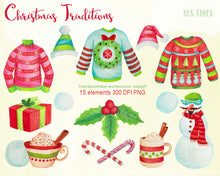 Load image into Gallery viewer, Christmas Sweaters & Hot Chocolate Watercolor Clipart - slslines