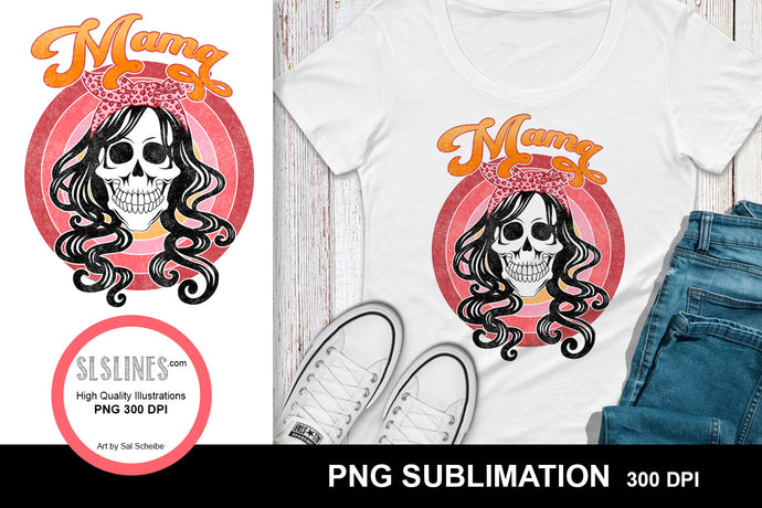 Mama Skull Sublimation Design PNG - Distressed