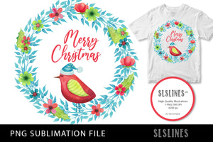 Merry Christmas Bird Wreath PNG sublimation