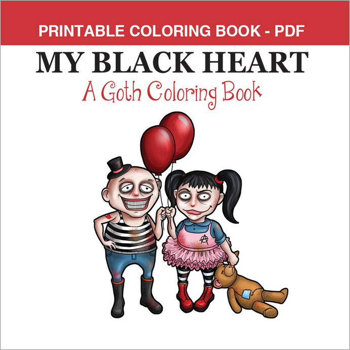 Printable Coloring Book: My Black Heart, Cute goths, 15 pages - slslines