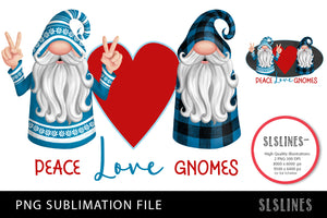 Peace Love Gnomes in Blue & Red PNG sublimation