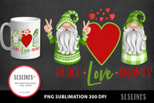 Load image into Gallery viewer, Peace Love Gnomes in Green & Red PNG sublimation