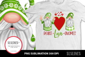 Peace Love Gnomes in Green & Red PNG sublimation
