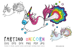 Farting Unicorn Rainbow SVG EPS PNG