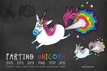 Load image into Gallery viewer, Farting Unicorn Rainbow SVG EPS PNG