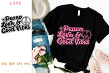 Load image into Gallery viewer, Retro Peace Love & Good Vibes SVG - Inspirational Cut File