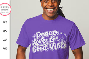 Retro Peace Love & Good Vibes SVG - Inspirational Cut File