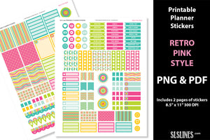 Printable Stickers: Planner Stickers Retro Pink Style