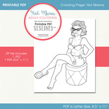 Load image into Gallery viewer, Printable ADULT Coloring Page: Hot Mama