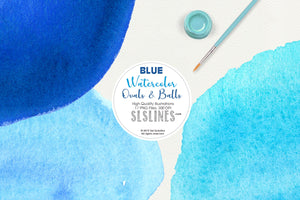 Blue Balls & Ovals Watercolor Shapes Clipart