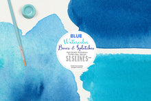 Load image into Gallery viewer, Blue Boxes & Splatters Watercolor Shapes Clipart