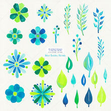 Load image into Gallery viewer, Blue Garden Floral Watercolor Clipart - slslines