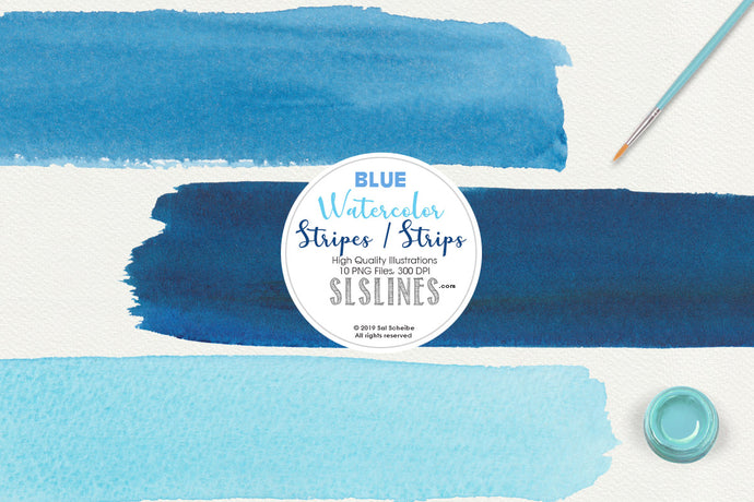 Blue Stripes & Headers Watercolor Shapes Clipart