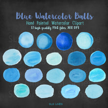 Load image into Gallery viewer, Blue Balls & Ovals Watercolor Shapes Clipart - slslines
