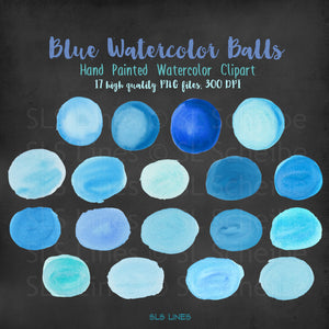 Blue Balls & Ovals Watercolor Shapes Clipart - slslines