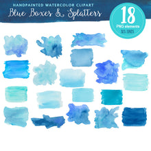 Load image into Gallery viewer, Blue Boxes & Splatters Watercolor Shapes Clipart - slslines