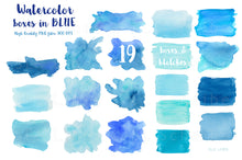 Load image into Gallery viewer, Blue Watercolor Shapes Clipart Set, PNG Elements - slslines