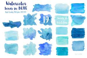 Blue Watercolor Shapes Clipart Set, PNG Elements - slslines