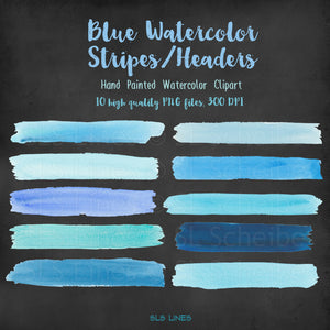 Blue Stripes & Headers Watercolor Shapes Clipart - slslines