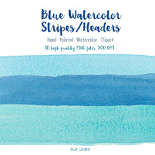 Load image into Gallery viewer, Blue Stripes & Headers Watercolor Shapes Clipart - slslines