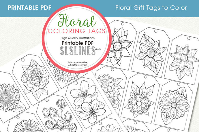 Printable Coloring: Floral Gift Tags