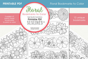Printable Coloring:  12 Flower Bookmarks for adult coloring!
