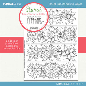 printable PDF bookmarks for adult coloring