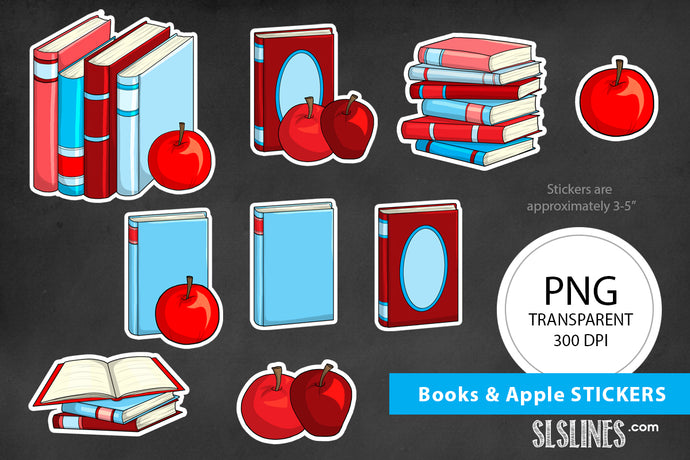 Printable Stickers: Books & Apples Teacher Stickers