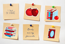 Load image into Gallery viewer, Printable Stickers: Books & Apples Teacher Stickers