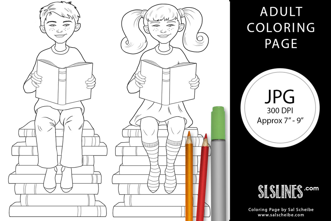 Printable Coloring Page: Boy & Girl Reading Books