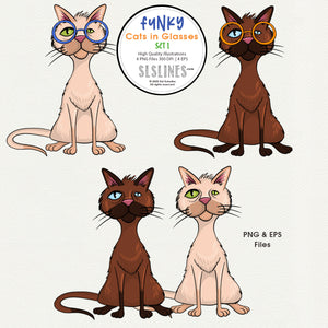 Quirky Cats in Glasses Graphics EPS PNG