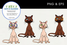 Load image into Gallery viewer, Quirky Cats in Glasses Graphics EPS PNG
