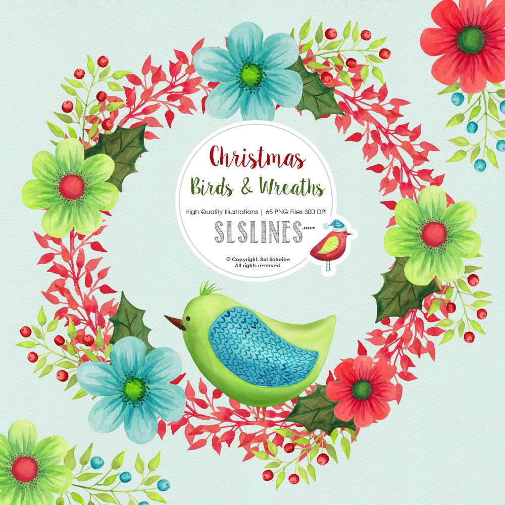 Christmas Birds & Wreaths Watercolor Clipart - slslines
