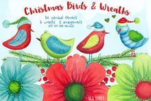 Load image into Gallery viewer, Christmas Birds & Wreaths Watercolor Clipart