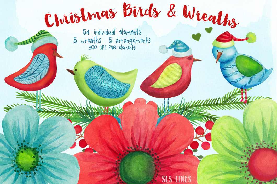 Christmas Birds & Wreaths Watercolor Clipart