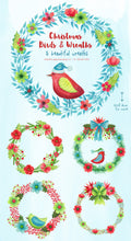 Load image into Gallery viewer, Christmas Birds & Wreaths Watercolor Clipart - slslines