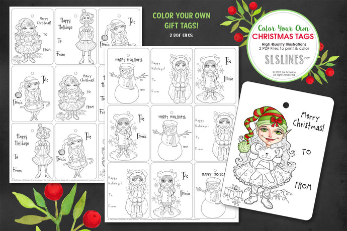 Printable Coloring: Christmas Gift Tags