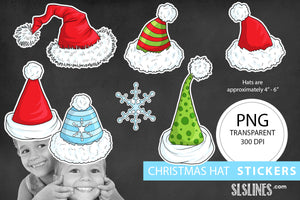 Printable Stickers: Santa Hat Stickers
