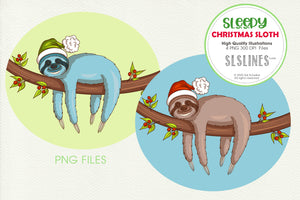 Sleepy Christmas Sloth on a Branch Graphic