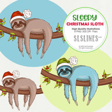 Load image into Gallery viewer, Sleepy Christmas Sloth on a Branch Graphic