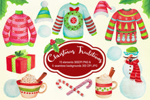 Load image into Gallery viewer, Christmas Sweaters & Hot Chocolate Watercolor Clipart
