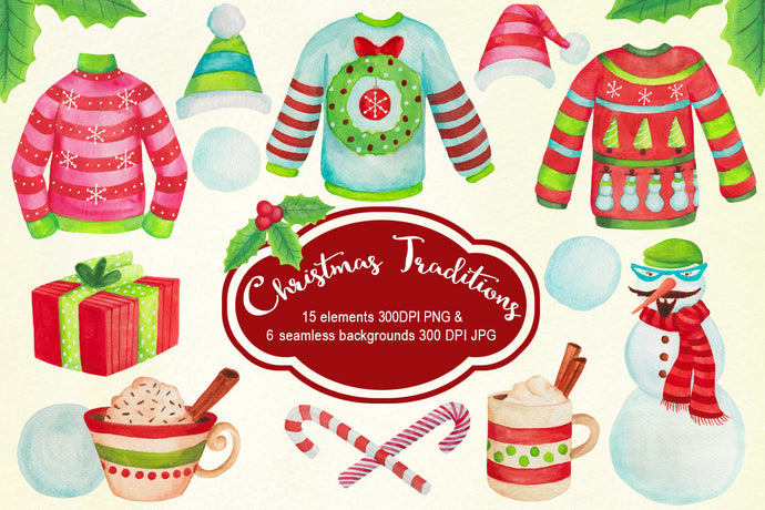 Christmas Sweaters & Hot Chocolate Watercolor Clipart
