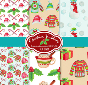 Christmas Sweaters & Hot Chocolate Watercolor Clipart - slslines