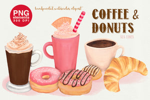 Coffee & Donuts Bakery Watercolor Clipart