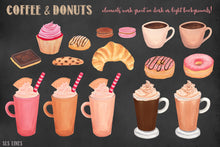 Load image into Gallery viewer, Coffee & Donuts Bakery Watercolor Clipart - slslines