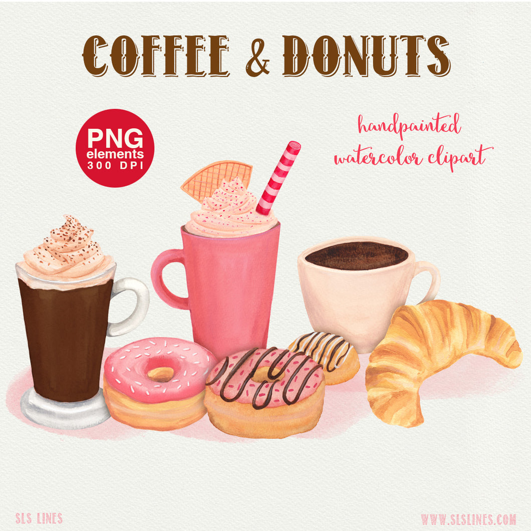 Coffee & Donuts Bakery Watercolor Clipart - slslines